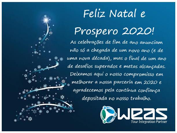 """Postal Com arvore de Natal e símbolo da WEAS.  """"As celebrações de fim de ano anunciam não só a chegada de um novo ano (e de uma nova década), mas o final de um ano de desafios superados e metas alcançadas. Deixamos aqui o nosso compromisso em melhorar a nossa parceria em 2020 e agradecemos pela contínua confiança depositada no nosso trabalho."""""""